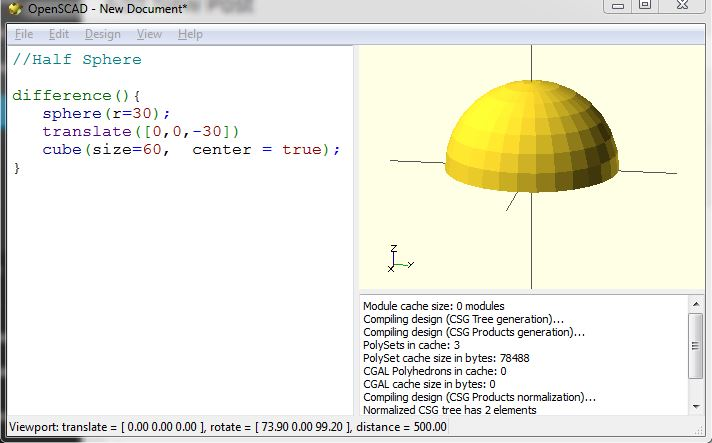 The half sphere generated by the example OpenSCAD code