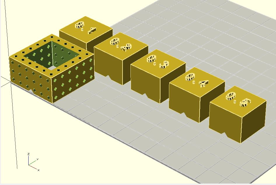 """OpenSCAD rendering of the  design showing a """"donut"""" and a number of different """"holes"""" with different clearances. The donut has a swiss cheese effect to reduce printing time"""