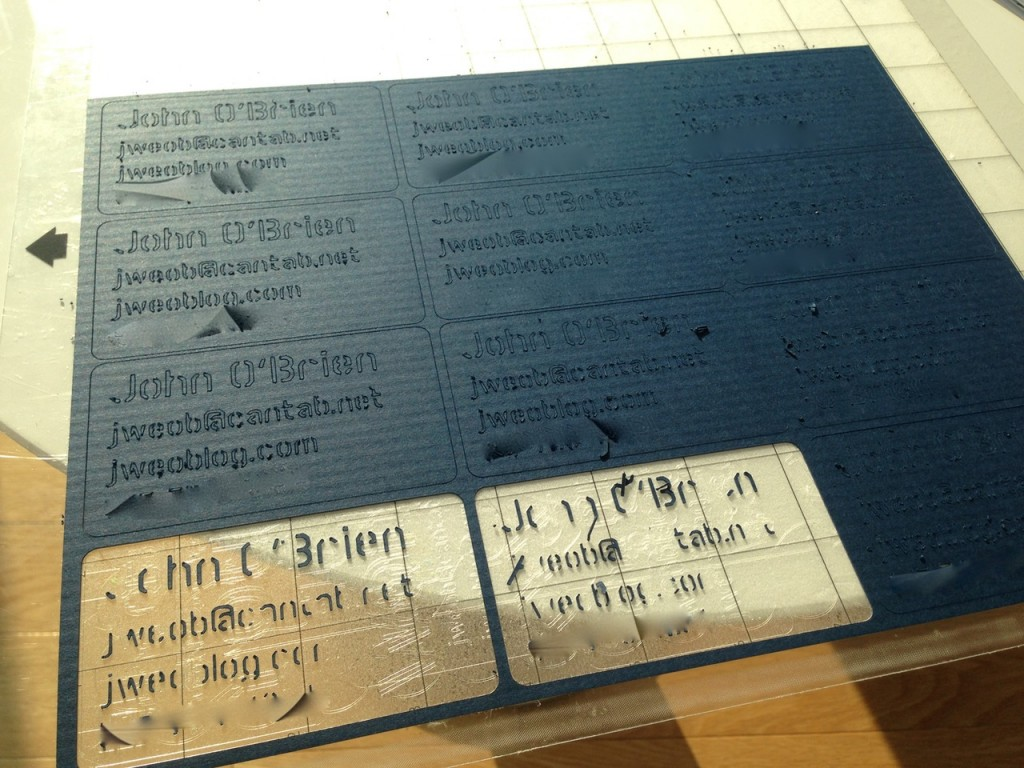Set of cards on the cutting mat