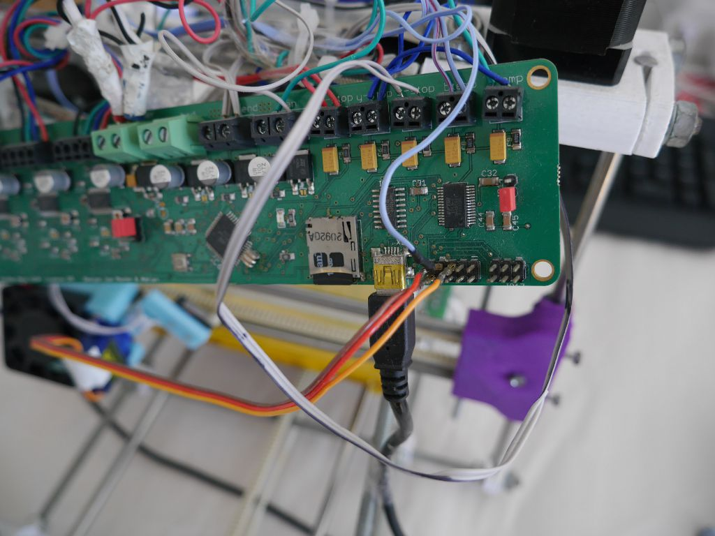 The very messy original wiring for the z-probe servo
